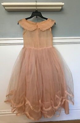 SWEET VTG 40s 50s SHEER PEACH NYLON Crinoline DRESS Youth M/L   #151
