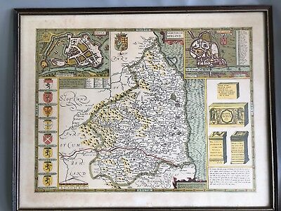 Large Antique Framed and Glazed Reproduction Map of Northumberland