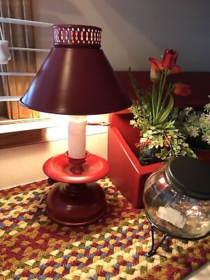 Primitive Vintage Red Metal Toleware Lamp Farmhouse Chic
