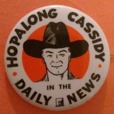Hopalong Cassidy In The Daily News 1950 Pin Button Collectible Vintage Rare D
