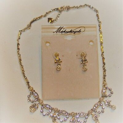 Wedding Jewelry Set Michaelangelo Faux Pearl Faux Gold/Silver Crystals