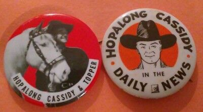 2Pc Hopalong Cassidy Western 1950's Badge Pin Button Collection Vintage Rare A