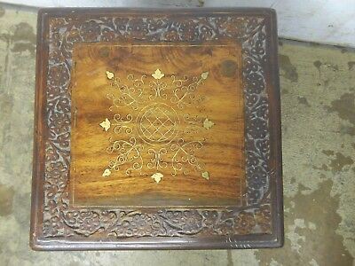 """Vintage Diminutive Carved Inlaid Wood Folding Plant Stand Table India 12"""" Square"""