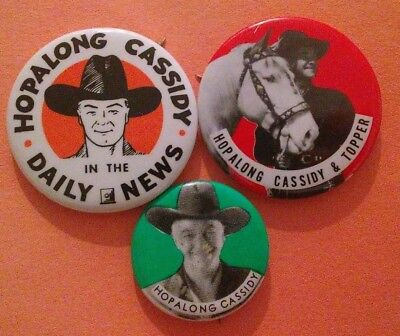 3Pc Hopalong Cassidy Western 1950's Badge Pin Button Collection Vintage Rare A