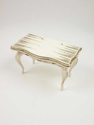1:12 Scale Dollhouse Vintage Miniature Furniture Table White Gold Wood