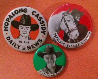 3Pc Hopalong Cassidy Western 1950's Badge Pin Button Collection Vintage Rare B