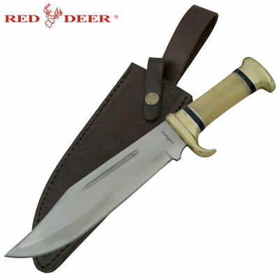 "14"" Red Dear Outdoors Bowie Knife with Animal Bone Handle"