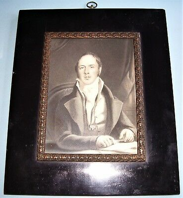 "Lt. GEORGIAN PORTRAIT MINIATURE PRINT MATTHEW ""MONK"" LEWIS EBONIZED FRAME C.1820"