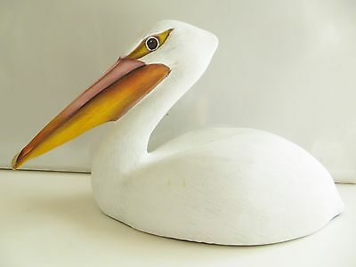 "8"" PELICAN WOOD figurine ,Hand Carved and painted ,SIGNED by  the artist!"