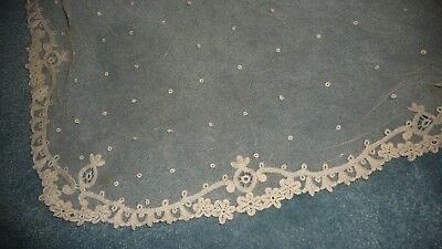 "#920EE Antique vtg WEDDING VEIL NET LACE w DESIGNED BORDER & DOTS Approx 80"" L"