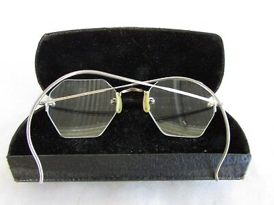 Pair of Vintage Octagonal Rimless Glasses with Spring Case - Silver Frames