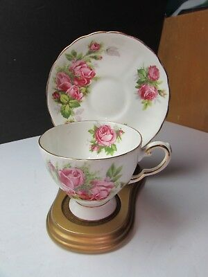 Pretty Tuscan Bone China England Moss Rose Cup And Saucer