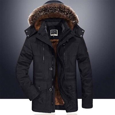 Mens Winter Jacket Hooded Fur Collar Outdoor Thicken Warm Outwear Parka Coat New