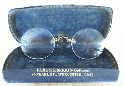 Pair of Antique Rimless Pince Nez Eye Glasses - Pre 1920 - Gold Metal