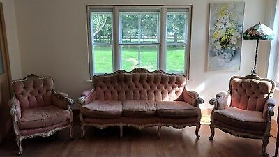Antique vintage Louis XV style 3 piece suite in need of recovering