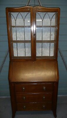 Double height drop flap bureau-desk & bookcase-leaded glass-excellent condition