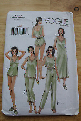 VOGUE 7837 Sewing Pattern Ladies lingerie camisole shorts  top ,nightgown lge-xl