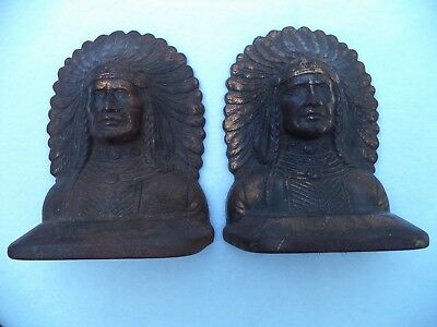 Vintage Cast Iron Indian Chief Head Book Ends w/copper patina