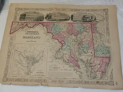 """1863 Johnson's Map of Maryland and Delaware District of Columbia 14 x 18"""""""