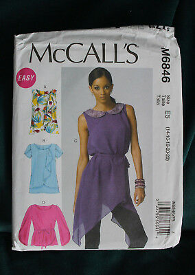 M6846 McCall's Sewing Pattern Ladies top blouse tunic size 14-22