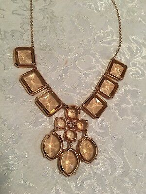 J.CREW Infinity Necklace Champagne Blush Peach Gold-Plated Glass stones 20""