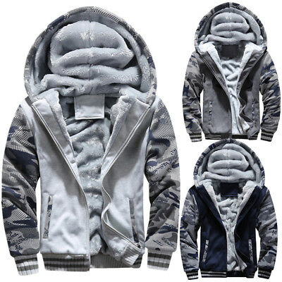 a5fc3fb70adcb Men s Fur Lined Winter Hoodie Jacket Thick Sherpa Fleece Hooded Zip Up  Outerwear