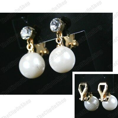 CLIP ON 2cm small earrings PEARL CRYSTAL silver/gold rhinestone crystal CLIPS