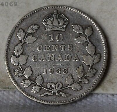 1933 *Silver* Canada 10 Cents *Free S/H After 1st Item*
