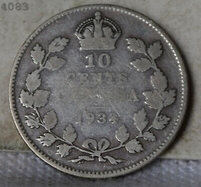 1934 *Silver* Canada 10 Cents *Free S/H After 1st Item*