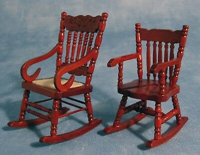Dolls House Miniature 1/12th Scale Set of 2 Wooden Rocking Chairs DF114
