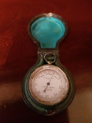 Very Rare Antique James More Of Glasgow Pocket Barometer In Leather Case