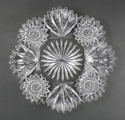 Fine Antique AMERICAN BRILLIANT Cut Crystal ABP Small Round Plate 19th Century