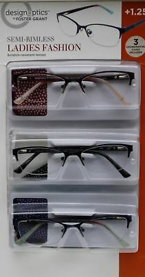 aa4a8d7d845 3 Pack Design Optics +1.25 Reading Glasses Full-Frame Ladies Fashion With  Cases
