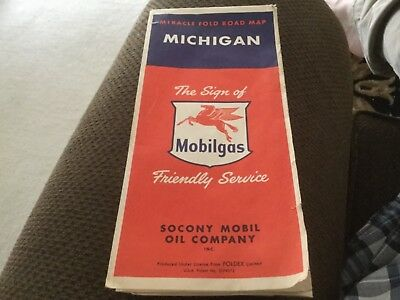 Mobil Mobilgas State Of Michigan Highway Road Map  Vintage Auto Travel