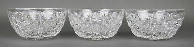 Fine Antique AMERICAN BRILLIANT Cut Crystal ABP Round Berry Bowls Set Of 3 A