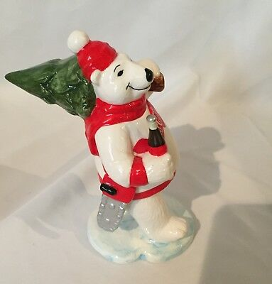 COCA COLA: Porcelain White Bear figurine 1997 Christmas Collection Carrying Tree
