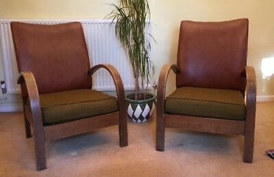 Art Deco Vintage Club Armchairs , with Leather Backs