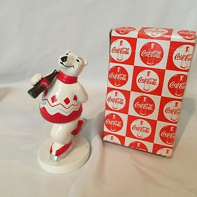 COCA COLA: Porcelain White Bear figurine 1997 Christmas Collection Ice Skater