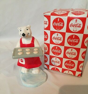 COCA COLA: Porcelain White Bear figurine 1997 Christmas Collection Tray Cookies