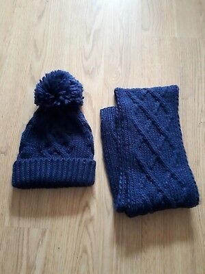 Mothercare Boys Blue Winter Hat & Scarf Set Age 3-6 Years
