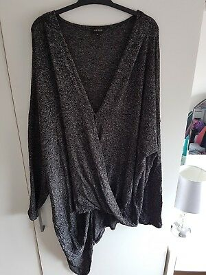 Ladies Dark Grey River Island Wrapover Asymetric Jumper. Size 14