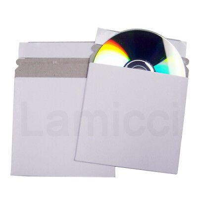 "200pcs DVD ""5"" Inch CD/DVD  White Cardboard Mailer Envelope w/ Flap & Seal"