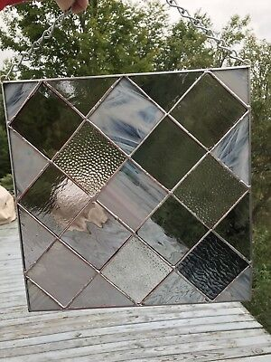 Stained Glass Panel In Textured Squares Of Grays