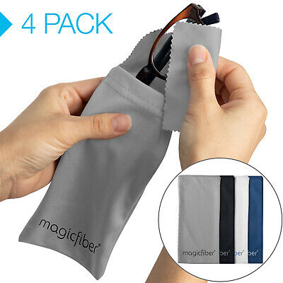 MagicFiber Microfiber Eyeglass, Cell Phone Cleaning Pouch (4 Pack)