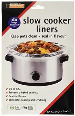 Toastabags Slow Cooker Liner Transparent Pack Of 25 Eliminate Soaking And Scrub