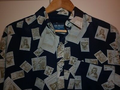 Vintage Postage Stamp Print Ls Shirt Size L Good Condition
