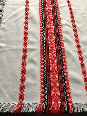 "Vintage Hungarian Woven Tablecloth Folk Art 30x32"" Red White Black #11B"