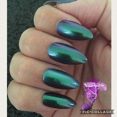 *NEW Quality Hand Painted Press On/False Nails Purple/Green Stiletto UK SELLER*