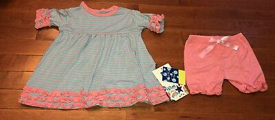 Kickee Pants Toddler Girl Strawberry Stripe Babydoll Outfit Set 3T New