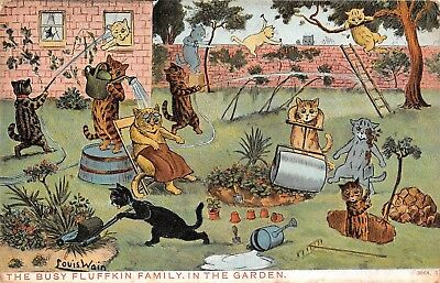 POSTCARDS    CATS   LOUIS  WAIN  The  Busy  Fluffkin  Family in the Garden
